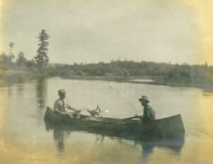 NX256 Vtg Photo TWO MEN IN CANOE WITH DEER KILL, HUNTERS, HUNTING c Early 1900's