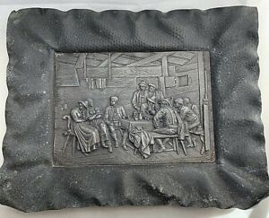 Early Tavern Pub Scene Plaque Cast Bronze? Metal Hammered Frame Arts & Crafts