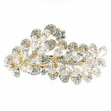 USA BARRETTE use Swarovski Crystal Hair Clip Hairpin Elegant Jeweled Gold K01
