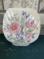 "Vintage 7"" Porcelain Bouquet Vase Made Japan Blue Pink Floral Design"