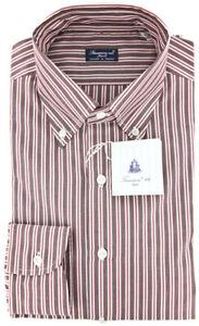 New $425 Finamore Napoli Brown White, Red Striped Cotton Shirt 17/43