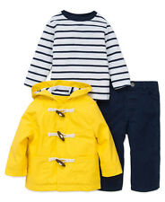 Little Me 3 Pc. Set for Boys Size 3T Hooded Toggle Jacket Long Sleeve Shirt Pant