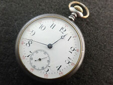 VINTAGE 16 SIZE SWISS OPEN FACE POCKET WATCH GUN METAL CASE - KEEPING TIME