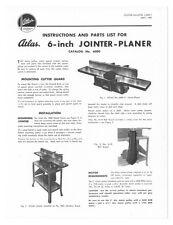 """1950 Atlas  6"""" Jointer-Planer - Catalog No. 6000  Instructions"""