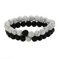 Couples His & Hers Distance Bracelet Lava Bead Matching YinYang Anniversary Gift