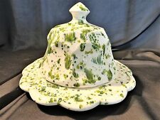 MCNEES ORIGINALS SPONGEWARE COVERED BUTTER OR CHEESE DISH  IVORY/GREEN