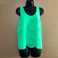 Naked Zebra Women's Small Blouse Top Sleeveless Green Layered Ruffle