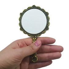 Ladies Antique Vintage Rose Carved Style Circle Bronze Vanity Hand Held Mirror