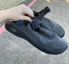 Women's Chacos Pedshed Toecoop Black Leather Walking Shoes Clogs Size 9