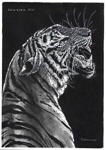 original drawing A4 72VL art samovar Watercolor Animal tiger Signed 2021