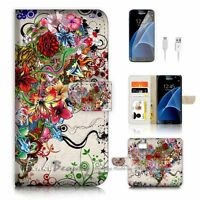( For Samsung S7 ) Wallet Case Cover P0997 Flower Heart
