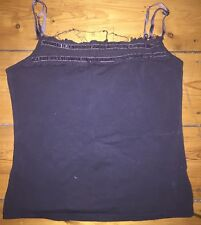 Principles Petrol Blue Vest Top With Shabby Chic Ruching & Velvet Straps Size 12