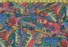 "JAZZ MUSIC PIANO GUITAR VIOLIN TRUMPET Fabric Poly /Cotton 60"" Wide *Half Yards*"