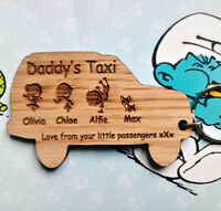 PERSONALISED Christmas FATHERS DAY Birthday GIFT WOODEN KEYRING Taxi