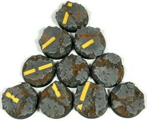 Industrial Road- Round Resin Bases 25 mm - 10 Painted/Unpainted Bases Warhammer