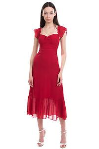 RRP €280 REFORMATION Midi Flounce Dress Petite Size 0P Sweetheart Neck