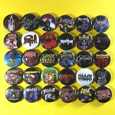 "Death Metal 1"" PIN BUTTON lot (30 pins) Morbid Angel Death Cannibal Corpse Sadus"