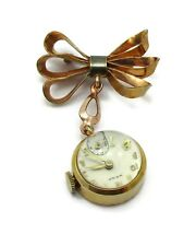 Wega Gold Filled Brooch Watch Wind Up Magnified Domed Casing