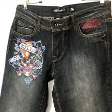 Ed Hardy Skinny Jeans Women 26 Embroidered Embellished Love Kills Stretch