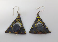 Sterling Silver Triangular Oxidised  Earrings With Lapis Lazuli Stone