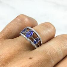 1.23 TCW Tanzanite And Diamond 3-Stone Open Work Ring In 14k White Gold