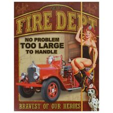 Vintage Art Fire Department Decorative Tin Sign - Full Of Old American Nostalgia