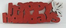 Red White Happy Holidays Foam Glitter Sign  A3