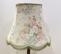 Vintage Large Standard Lamp Shade With Tassels Green/pink Floral Roses Good Cond