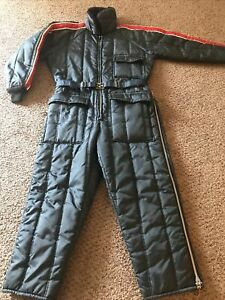 Vintage JC Penny Snowmobile Apparel Men's Large Insulated Navy Snowsuit USA