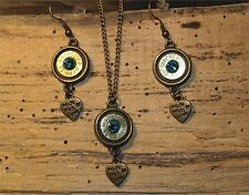 Antique Gold Bullet Necklace & Earrings w/ Heart Charms  (Brass 45's) S651