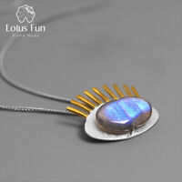 Solid 925 Sterling Silver Natural Stone Eyelashes Pendant for Women Fine Jewelry