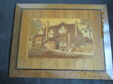 "ART DECO MARQUETRY PICTURE 'The Plow Inn,Speen,Bucks' 19"" x 15"" c.1930's"