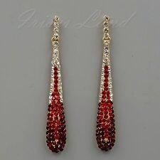 18K Gold Plated GP Ruby Red Crystal Rhinestone Drop Dangle Earrings 00512 New