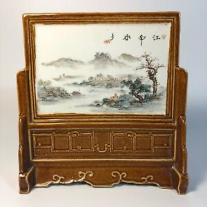 Chinese Porcelain Plaque Table Screen Hand Painted Scenery