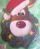 Bucilla Felt Applique Holiday Christmas Craft Kit,RUDOLPH,Wreath,Door/Wall,84390