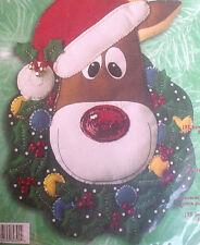 Bucilla Felt Applique Holiday Christmas Craft Kit,RUDOLPH,Wreath,Door/Wall,84390