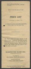 Remington Rand 1936 price list for India Burma Ceylon Malaya