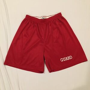 Men's XL AUGUSTA SPORTSWEAR Mesh Lifeguard Beach Pool Guard Shorts Red