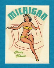 "VINTAGE ORIGINAL 1949 ""CLASSY CHASSIS"" MICHIGAN PINUP TRAVEL WATER DECAL ART"