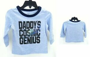 """Carter's Shirt Infant Boys Long Sleeve Blue """"Daddy's Cosmic Genius"""" Casual"""