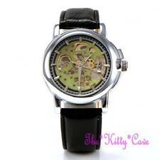 Automatic Mechanical Skeleton Steampunk Unusual Green & Silver Blk Leather Watch