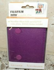 FUJI FILM INSTAX ALBUM- PURPLE - HOLDS 8  2 X 3 INSTAX PHOTOS W/ BONUS STICKERS