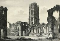 Rare View of Fountains Abbey North Yorkshire by John Coney large etched print