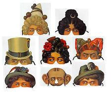 8 Viktorianische Masken Reprint Moyse's Hall Museum fein geprägt mit Bändern