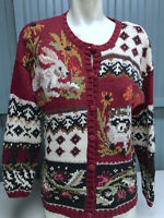 Heirloom Collectibles Size Small Wildlife Bunny Rabbit Raccoon Sweater
