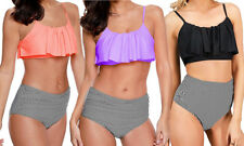 Ruffle Frill Top Bandeau Bikini High Waist Set Swimwear Togs!Ruched side bottoms