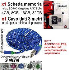 MEMORIA MICRO SD + CAVO TELA 3 METRI PER SAMSUNG GALAXY S5 i9600