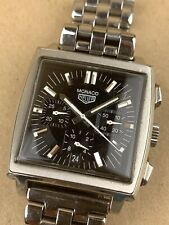 TAG Heuer Monaco CS2111 Heritage Vintage Automatic Chronograph Black Face Watch