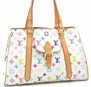Auth Louis Vuitton Multicolor Aurelia MM White Shoulder Tote Bag M40094 LV D9609