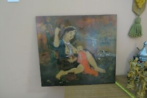 "Vintage Signed Asian Nude Woman Nursing Mixed Media Art Painting Wood 19"" x 21"""